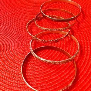 Bundle of Five Silver Mexican Bangle Bracelets